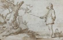 Abraham Bloemaert, Hengelaar bij een oude fuik, ca. 1625-1630 (grafiet, pen in bruin, gewassen in bruin)